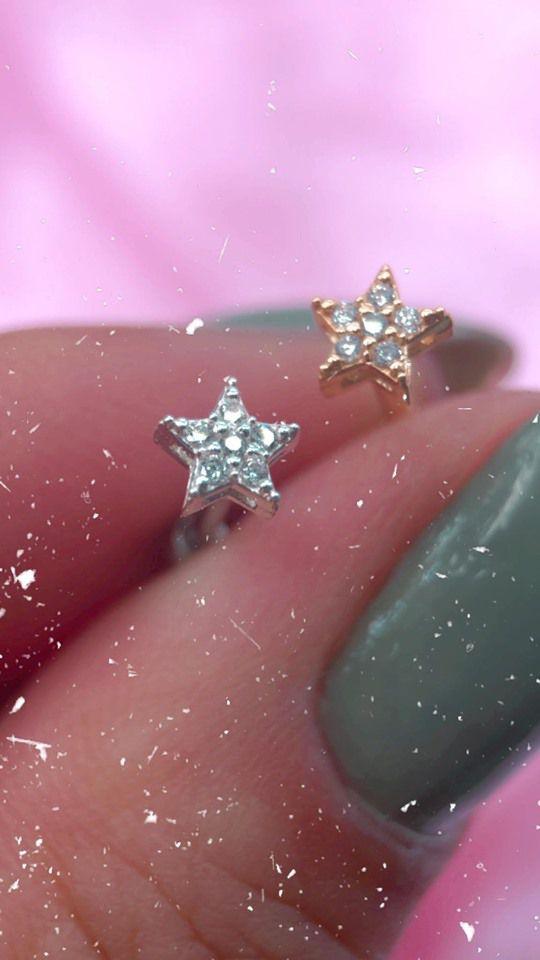 Piercing mini estrela cravejada Prata 925
