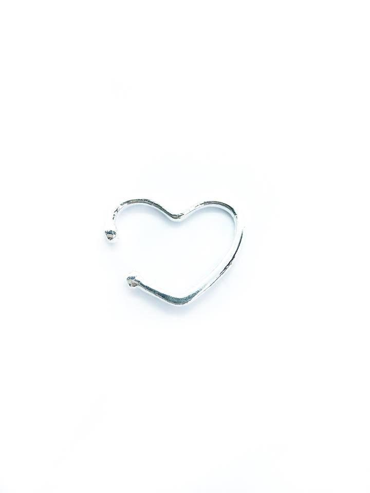 Piercing pressão fake coração Prata 925