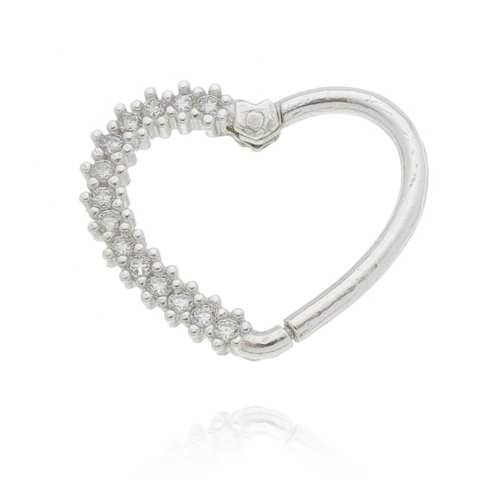 Piercing segmento coração metade cravejado em Prata 925