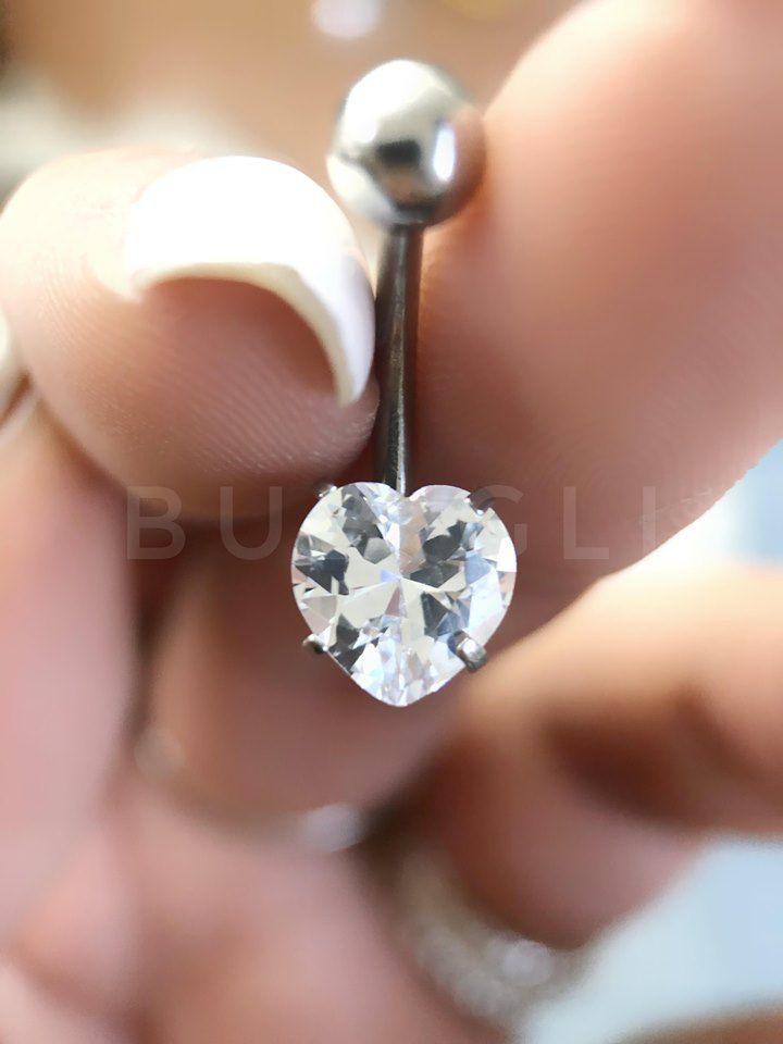 Piercing umbigo zircônia de coração Aço cirúrgico folheado