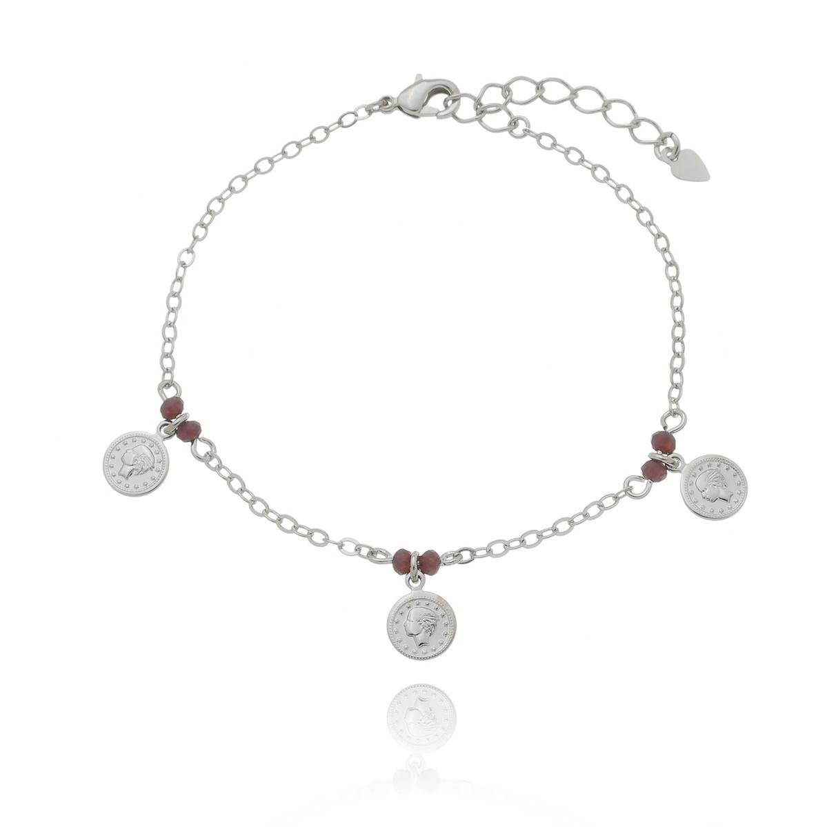 Pulseira 3 moedas com detalhe lilás banhada a ródio branco