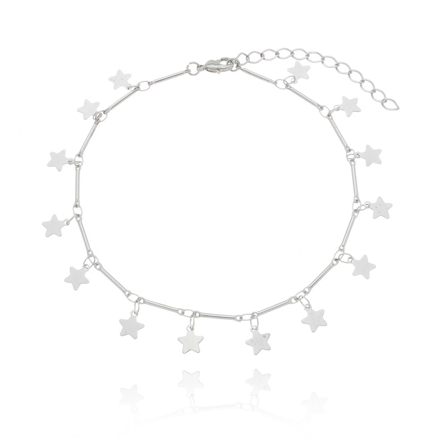 tornozeleira estrelas com tubinhos banhada a ródio branco