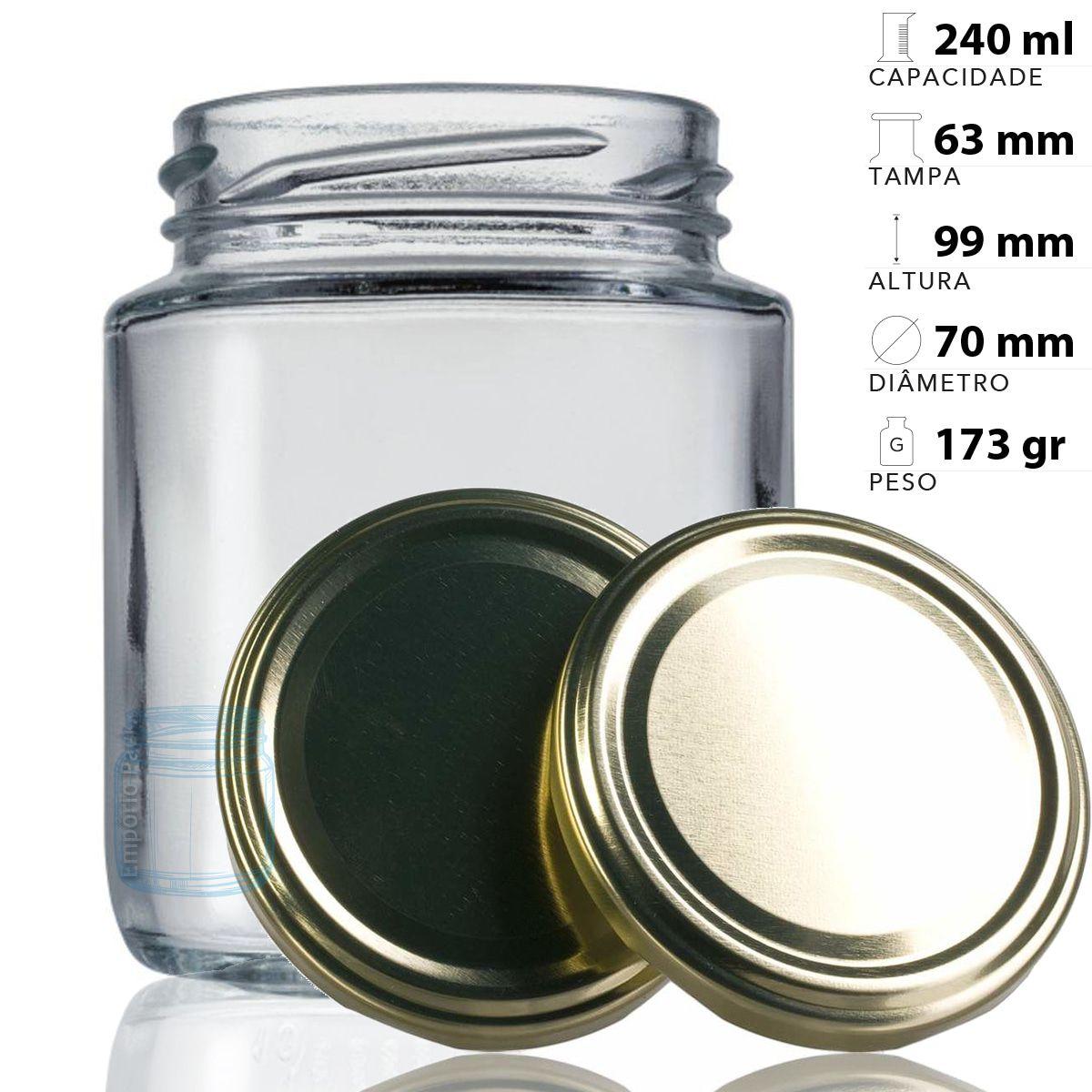 12 Pote vidro 240 ml + etiqueta adesiva em vinil de tempero  - EMPÓRIO PACK