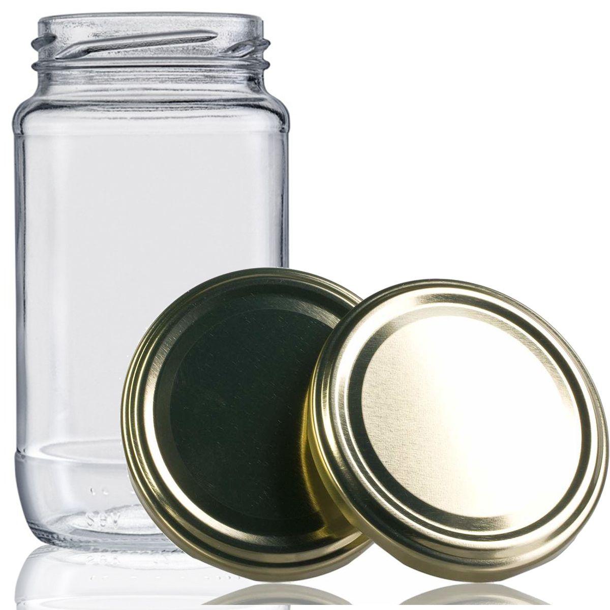12 Potes De Vidro Azeitona 355 Ml Com Tampa Dourada + Lacre  - EMPÓRIO PACK