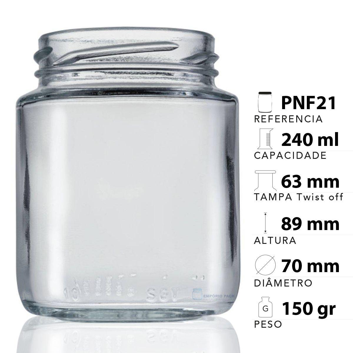 12 Potes De Vidro Belém 240 Ml Com Tampa Plástica  - EMPÓRIO PACK