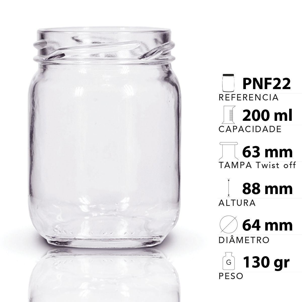 12 Potes De Vidro Conserva 200 Ml Com Tampa Preta + Lacre  - EMPÓRIO PACK