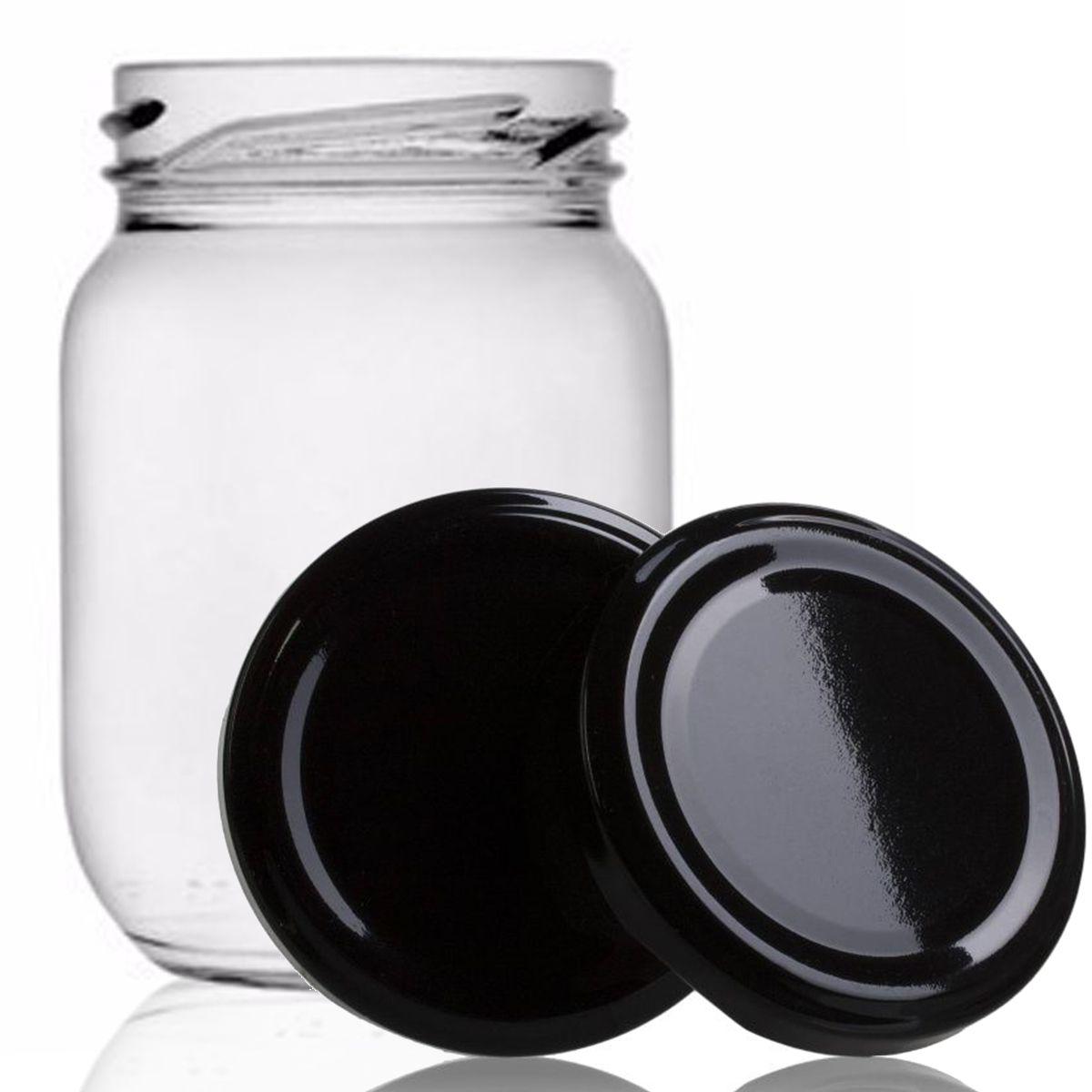 12 Potes De Vidro Conserva 268 Ml Com Tampa Preta + Lacre  - EMPÓRIO PACK