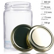 12 Potes De Vidro 360 ml Com Tampa Dourada, Para Mel, Geléia