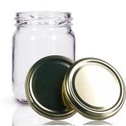 12 Potes De Vidro Conserva 200 Ml Com Tampa Dourada + Lacre