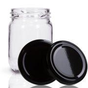 12 Potes De Vidro Conserva 200 Ml Com Tampa Preta + Lacre
