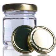 12 Potes de vidro Geleinha 40 ML, Com Tampa Dourado