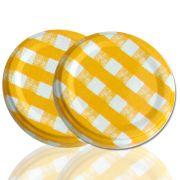 150 Tampas para Potes Xadrez Amarela Twist Off 63mm