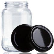 15 Potes De Vidro Conserva 600 Ml Com Tampa Preta + Lacre