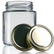 24 Potes De Vidro Belém 240 Ml Com Tampa Dourada + Lacre