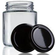24 Potes De Vidro Belém 240 Ml Com Tampa Preta + Lacre