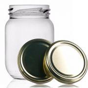24 Potes De Vidro Conserva 268 Ml Com Tampa Dourado + Lacre