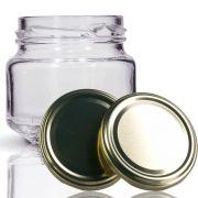 24 Potes de vidro Pate 120 ML, Com Tampa Dourado