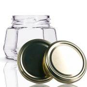 24 Potes De Vidro Sextavado 170 Ml Com Tampa Dourada + Lacre