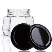 24 Potes De Vidro Sextavado 170 Ml Com Tampa Preta + Lacre