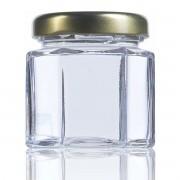 24 Potes de vidro Sextavado 40 ML, Com Tampa Dourado