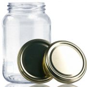 30 Potes De Vidro Conserva 600 Ml Com Tampa Dourada + Lacre