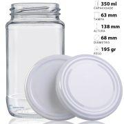 44 Potes De Vidro Azeitona 355 Ml Com Tampa Branca + Lacre