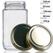 44 Potes De Vidro Azeitona 355 Ml Com Tampa Dourada + Lacre