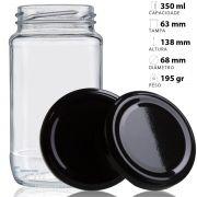 44 Potes De Vidro Azeitona 355 Ml Com Tampa Preta + Lacre