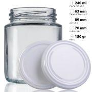 44 Potes De Vidro Belém 240 Ml Com Tampa Branca + Lacre