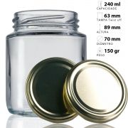 44 Potes De Vidro Belém 240 Ml Com Tampa Dourada + Lacre
