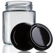 48 Potes De Vidro Belém 240 Ml Com Tampa Preta + Lacre