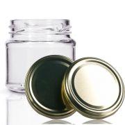 48 Potes De Vidro Mini Belém 150 Ml Tampa Dourada + Lacre