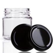 48 Potes De Vidro Mini Belém 150 Ml Tampa Preta + Lacre