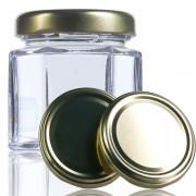 48 Potes de vidro Sextavado 40 ML, Com Tampa Dourado