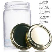 96 Potes De Vidro 360 ml Com Tampa Dourada, Para Mel, Geléia