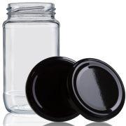 96 Potes De Vidro Azeitona 355 Ml Com Tampa Preta + Lacre