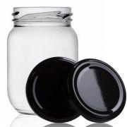 96 Potes De Vidro Conserva 268 Ml Com Tampa Preta + Lacre