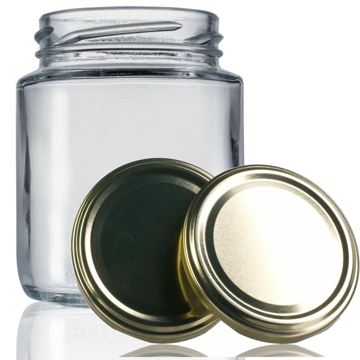 24 Potes De Vidro Belém 240 Ml Com Tampa Dourada + Lacre  - EMPÓRIO PACK