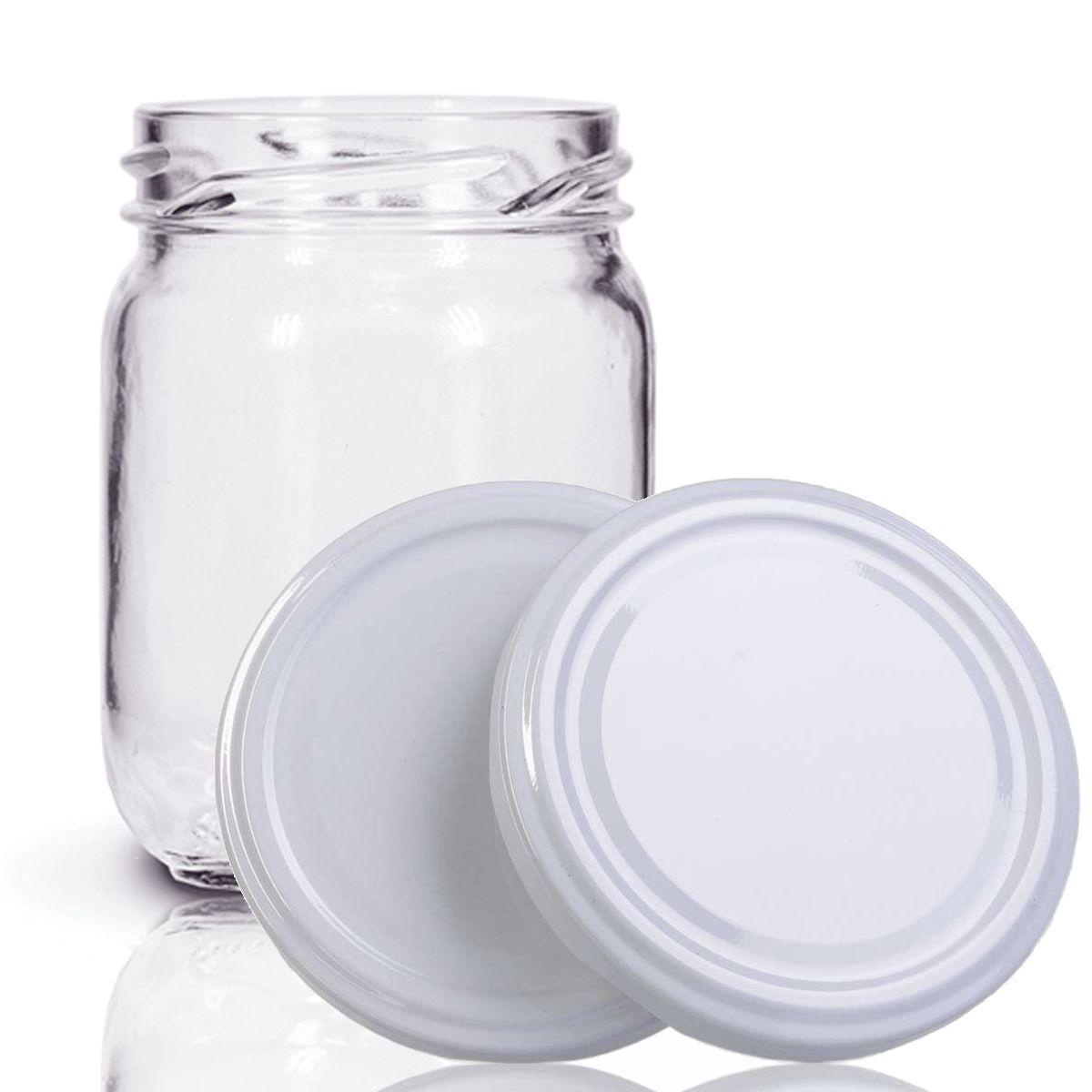 24 Potes De Vidro Conserva 200 Ml Com Tampa Branca + Lacre  - EMPÓRIO PACK