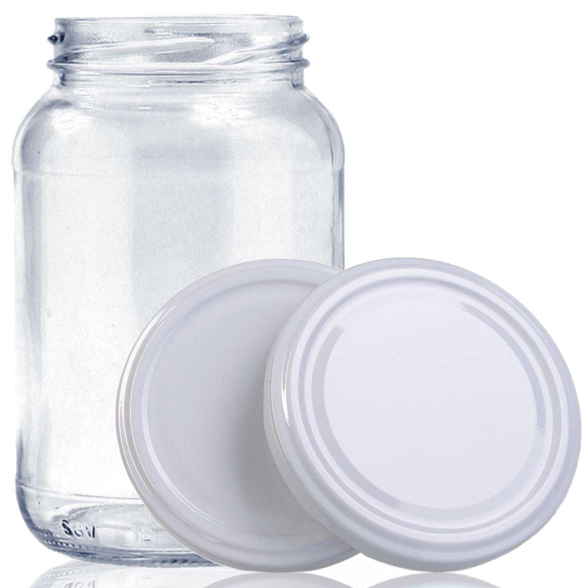 30 Potes De Vidro Conserva 600 Ml Com Tampa Branca + Lacre  - EMPÓRIO PACK