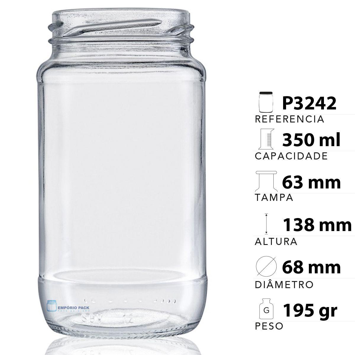 44 Potes De Vidro Azeitona 355 Ml Com Tampa Branca + Lacre  - EMPÓRIO PACK
