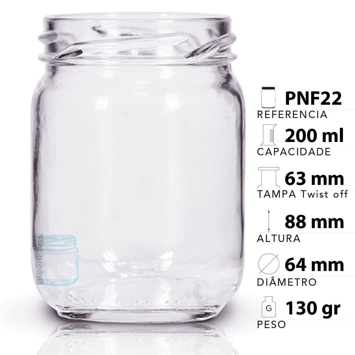 44 Potes Vidro Conserva 200 Ml Tampa Preta P/ Geleia, Bolo  - EMPÓRIO PACK