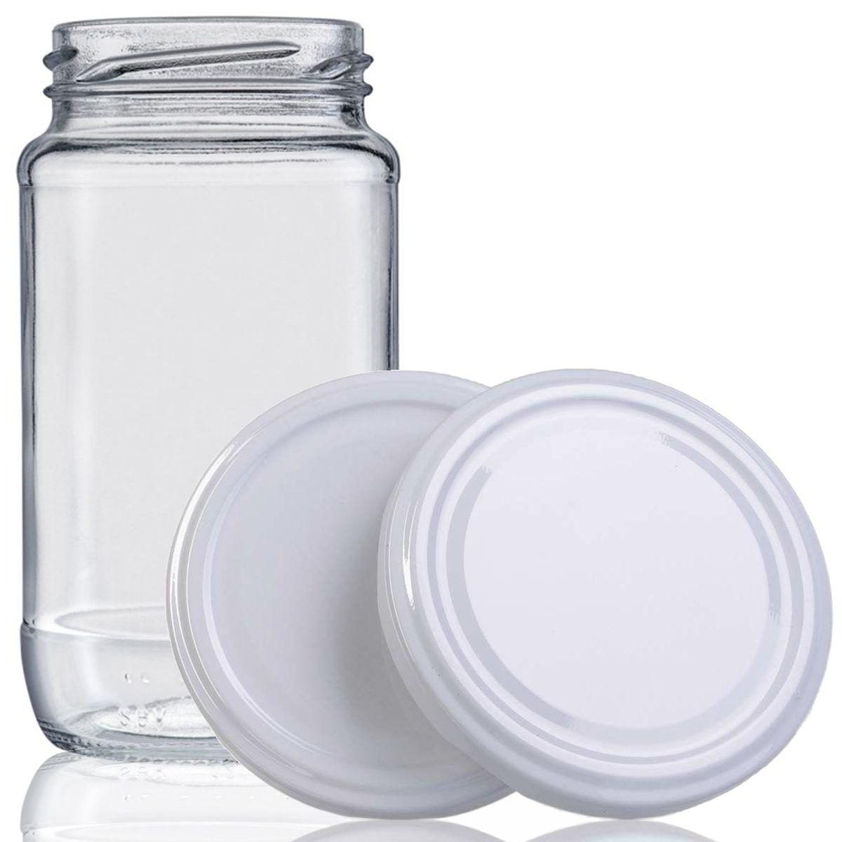 48 Potes De Vidro Azeitona 355 Ml Com Tampa Branca + Lacre  - EMPÓRIO PACK