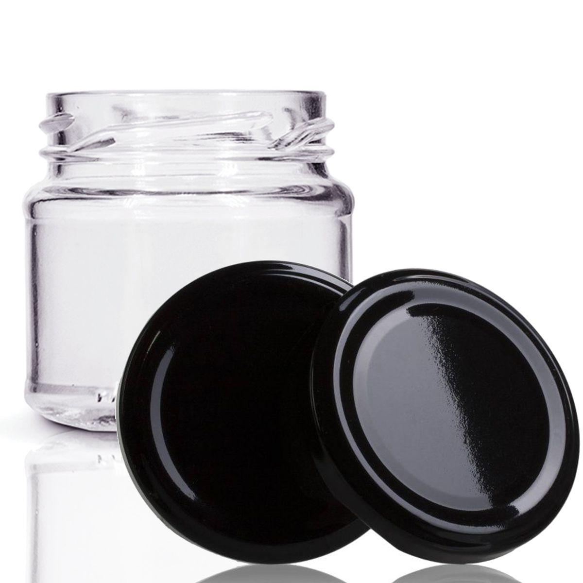 48 Potes De Vidro Mini Belém 150 Ml Tampa Preta + Lacre  - EMPÓRIO PACK