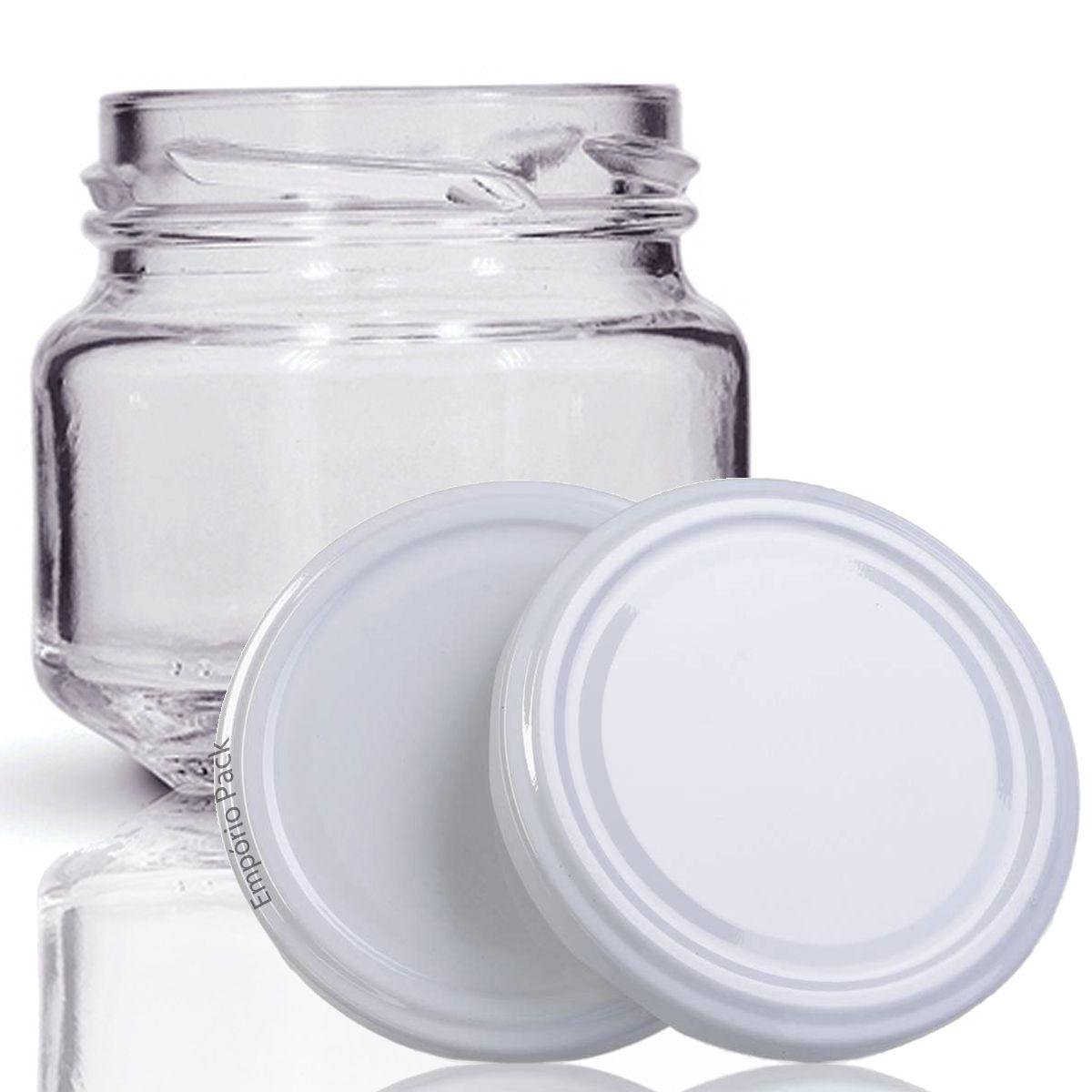 96 Potes de vidro Pate 120 ML, Com Tampa Branca  - EMPÓRIO PACK