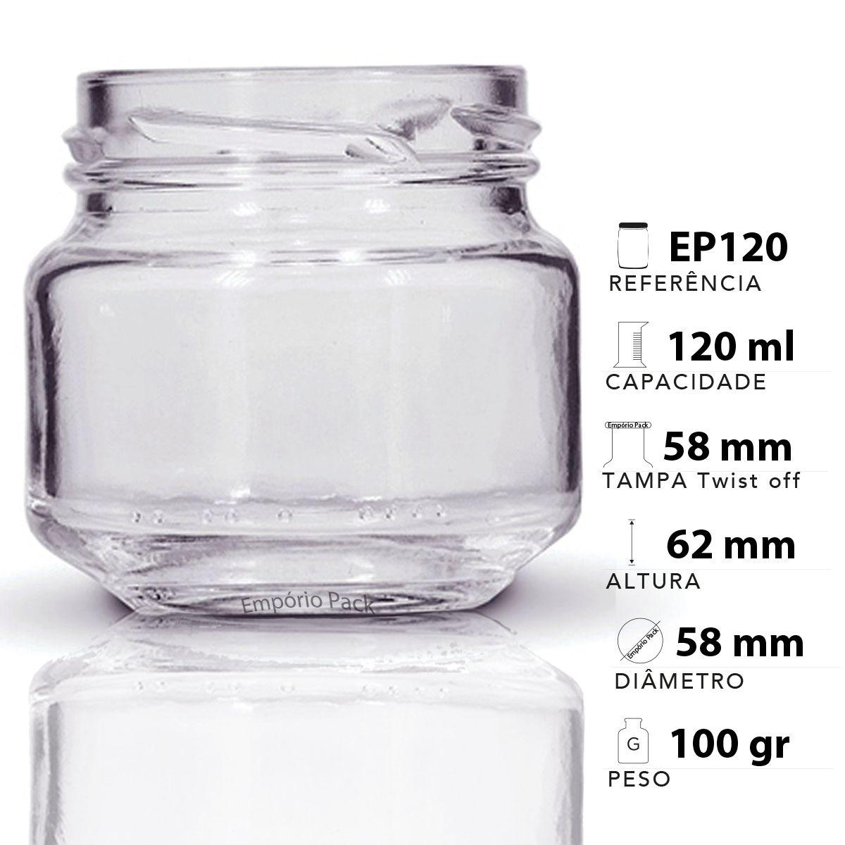 96 Potes de vidro Pate 120 ML, Com Tampa Dourado  - EMPÓRIO PACK