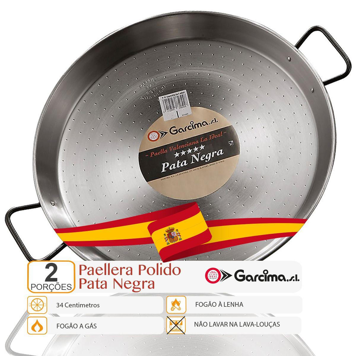 Paellera Aço Polido Pata Negra 34 Cm Para 2 Porções, Garcima  - EMPÓRIO PACK