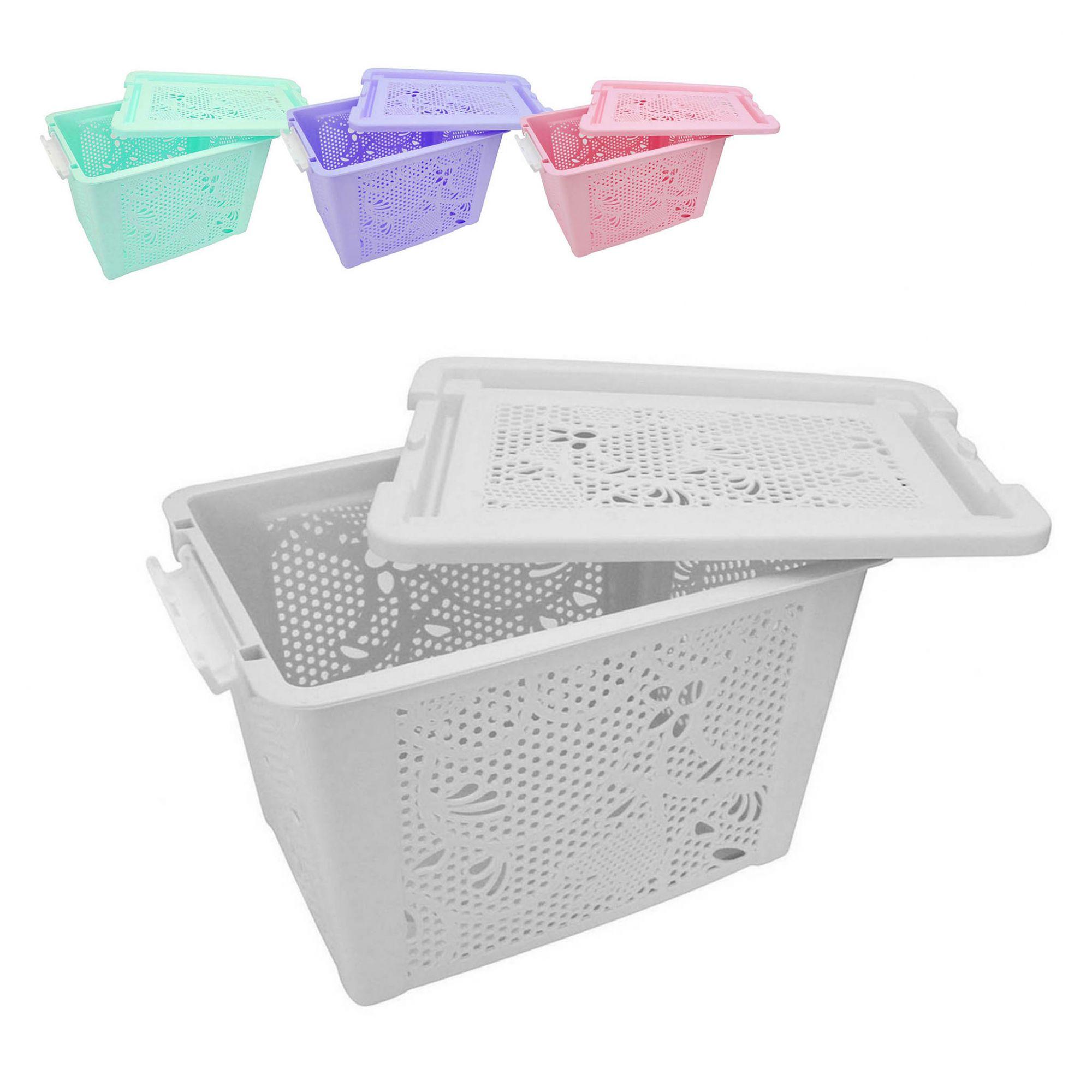 Cesta Plastica Organizadora com tampa 29,5X22X19,5cm