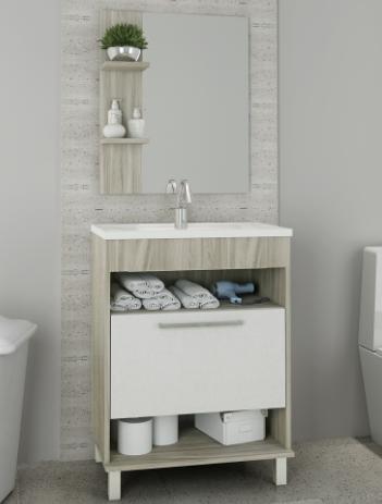 Conjunto Balcao de Banheiro Oasis 60cm