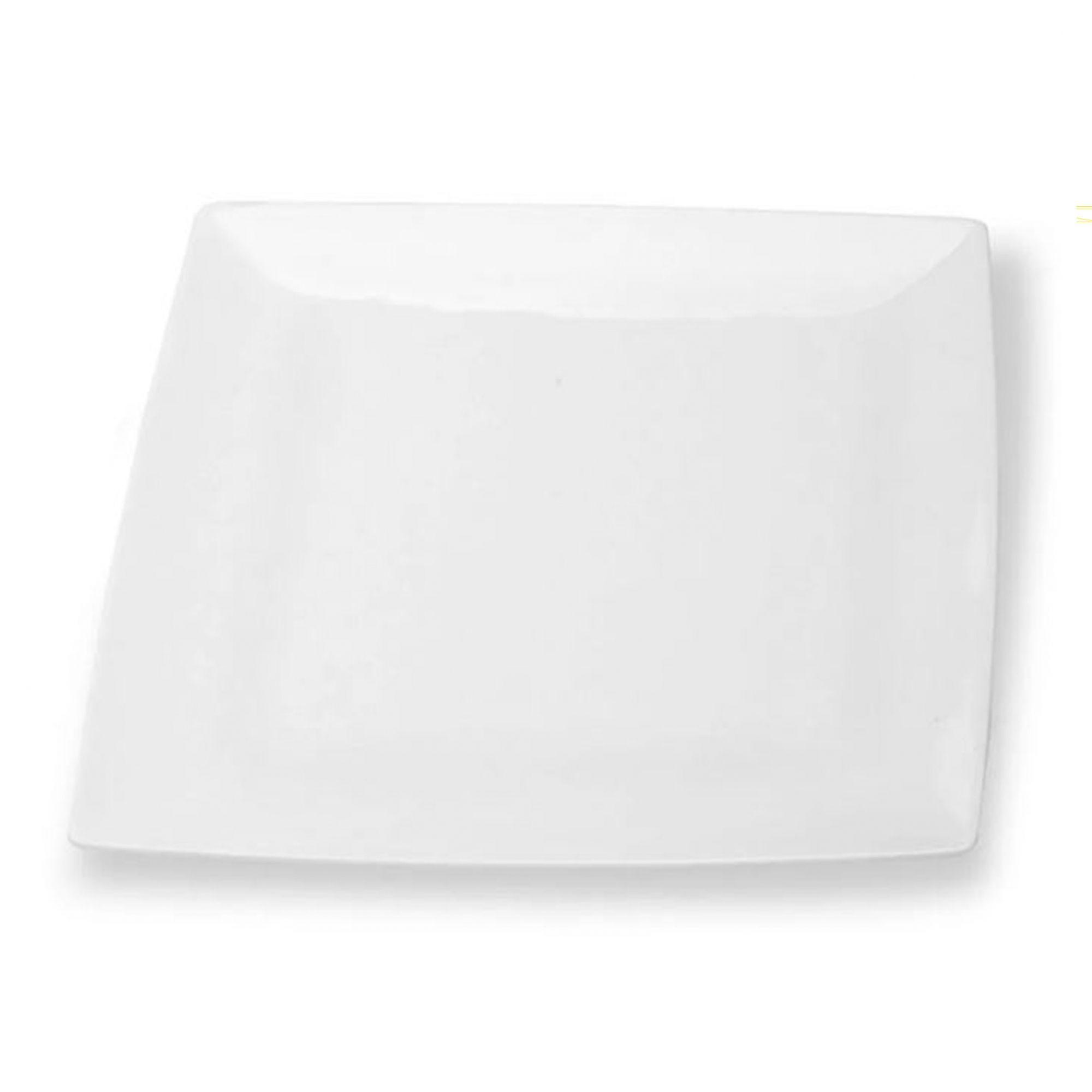 Prato Quadrado Especial Branco Melamina 25 x 25 Cm